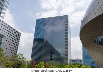 Seoul, Korea - July 21,2020: SBS(Seoul Broadcasting System) prism tower in Sangam-dong