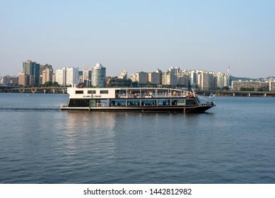 SEOUL, KOREA : JULY 3, 2019.  Ferry Cruise in Seoul city summer Hangang River.