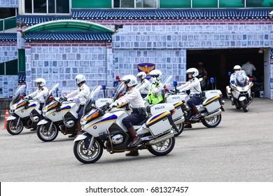 SEOUL, KOREA - JUNE 1, 2017: Motorcycle police squad is about to start their patrol around downtown Seoul, Korea