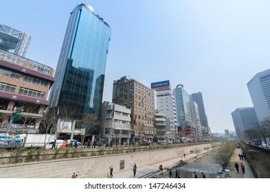SEOUL, KOREA - JUNE 10: Unidentified tourist visit fountain at Cheonggyecheon stream on June 10, 2013, Seoul, Korea