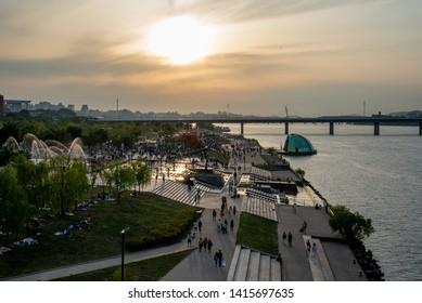 seoul, korea, June 2, 2019.  Hangang  River Park view.