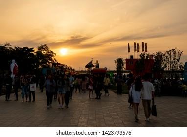 seoul, korea, June 2, 2019.  Hangang  River Park summer view.
