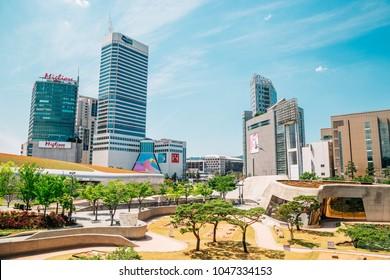 Seoul, Korea - June 5, 2017 : Seoul city view in Dongdaemun History & Culture Park