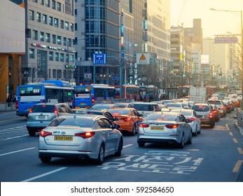 SEOUL, KOREA - MARCH 04, 2017 - Rush hour Traffic Jams at Hongdae in Seoul