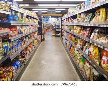 SEOUL, KOREA - MARCH 13, 2017: interior of Saruga supermarket. Saruga supermarket is one of supermarkets in South Korea.