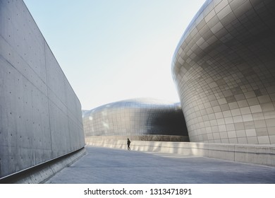 Seoul, Korea - March 14, 2015 : the exterior of Dongdaemun Design Plaza (DDP) in daytime, DDP is a major urban development landmark, this is South Korea's fashion hub and popular tourist destination
