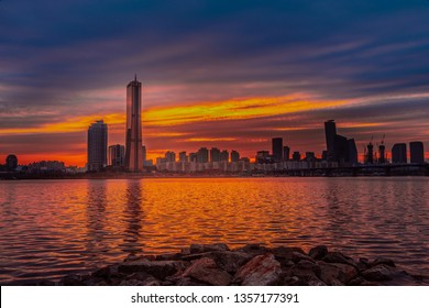 SEOUL, KOREA - MARCH 2018: Sunset 63 building at Seoul city and Downtown skyline in Seoul, South Korea.