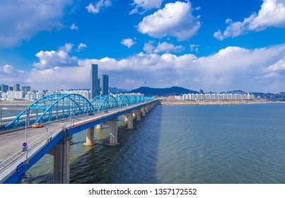 SEOUL, KOREA - MARCH 23, 2019: Seoul City skyline at Dongjak Bridge and Han river in Seoul, South Korea.