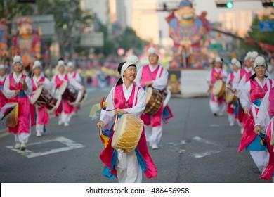 SEOUL KOREA MAY 16: Actresses are performing at Buddhist Cheer Rally for celebration of Lotus Lantern Festival on may 16 2015 at Dongguk University Stadium, Seoul, Korea.