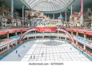Seoul, Korea - May, 2016: Inside the Lotte World, a famous amusement theme park at Seoul.