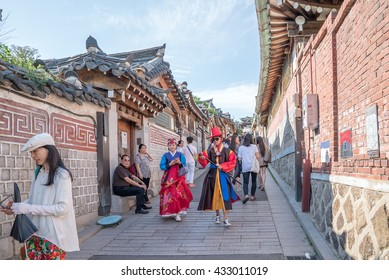 Seoul, Korea - May, 2016: Traditional Korean style architecture at Bukchon Hanok Village in Seoul, South Korea.