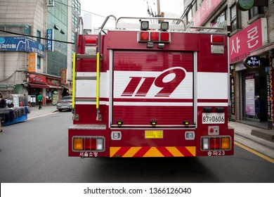 Seoul, Korea - May 21, 2018: 119 fire trucks dispatched from Cheonho-dong.