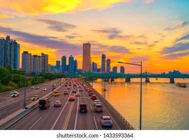 SEOUL, KOREA - May 25, 2019: Sunset 63 building at Seoul city and Downtown skyline in Seoul, South Korea.