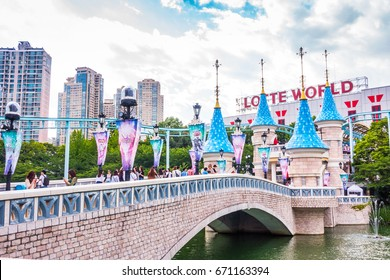 SEOUL, KOREA - May 26, 2017: Lotte World amusement theme park, a major tourist attraction in Seoul, South Korea on May 26, 2017