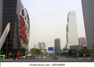 SEOUL, KOREA - MAY 5, 2017 : Bongeunsa crossroads, there are Subway Line 9 Bongeunsa Station and Trade Center, InterContinental Seoul COEX and Starfield COEX Mall.