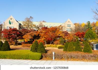 SEOUL, KOREA - NOV, 12, 2018: Beautiful autumn in campus of Ehwa woman university