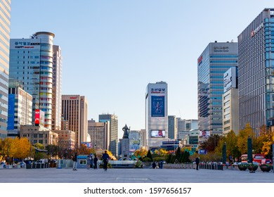 Seoul, Korea - Nov 14, 2019. Seoul Gwanghwamun Square and Cityscape.