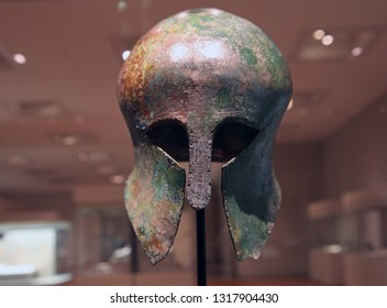 Seoul / korea - November 29, 2017 :  Ancient greek helmets received in honor of the 1936 marathon race winner Son Ki-jung at the 11th Berlin Olympic Games (National Museum of Korea)