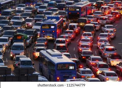 Seoul, Korea - October 13, 2007 : Traffic jam road