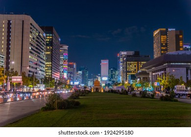SEOUL, KOREA, OCTOBER 17, 2019: Night view of a boulevard leading to the Gyeongbokgung palace in Seoul, Republic of Korea