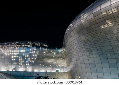 Seoul Korea. October 2014. DDP(Dongdaemun Design Plaza). Buildings with a design that resembles a spaceship. At night, it lights up.