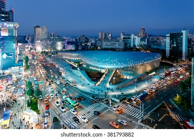 Seoul Korea. October 2014. Night view of the center of the Dongdaemun & DDP shopping and transportation.