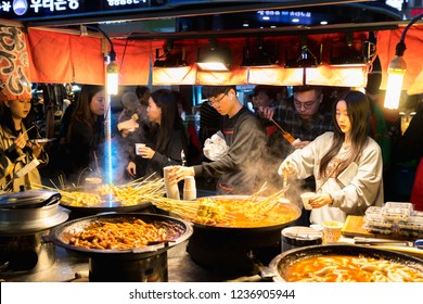 Seoul, Korea - October 22, 2018 : Stall with South Korea street food, Korea local food oden fish cake it is famous and spicy Soup in Myeongdong in Seoul, South Korea