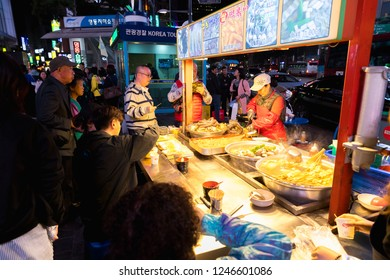 Seoul, Korea - October 22, 2018 : Stall with South Korea street food, Korea local food oden fish cake it is famous and many food in Myeongdong in Seoul, South Korea