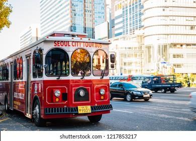 Seoul, Korea - October 31, 2018 : Seoul city tour bus at Gwanghwamun Cheonggye square in autumn