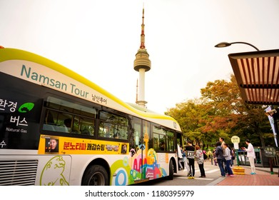 SEOUL, KOREA - OCTOBER 4, 2015 : Namsan Park, Unidentified tourists take the bus to visit the city's most famous Namsan mountain and Seoul tower. one of Korea's must-see places to visit.