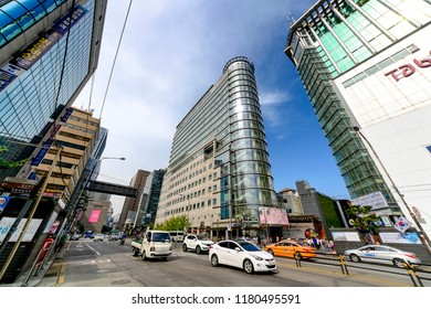 SEOUL, KOREA - OCTOBER 4, 2015 : Myeong-Dong shopping street, Korean people tourists walking shopping the neighbourhood. It is fashionable to be the most popular. neighbourhood is must when traveling.