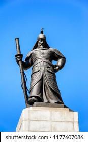 SEOUL, KOREA - OCTOBER 5, 2015 : Statue of Admiral Yi Sun-Shin at Gwanghwamun plaza, tourists often stroll and take photos with the statue. It is a place not to miss a visit to South Korea.