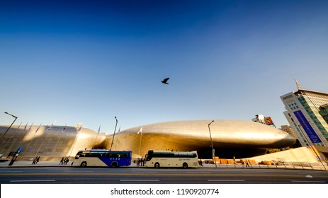 SEOUL, KOREA - OCTOBER 5, 2015 : Dongdaemun Design Plaza (DDP), Unidentified tourist visit museums of art and culture, Modern Architecture Museum Night lights are decorated around the building.