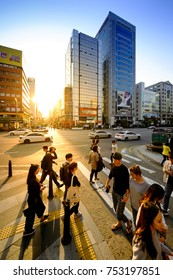 SEOUL, KOREA - OCTOBER 5, 2015 : Gangnam shopping street, Korean people tourists walking shopping the neighbourhood. It is fashionable to be the most popular. neighbourhood is must when traveling.