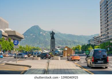 Seoul, Korea Republic of - May 10 2019 : The cars are turning left in Gwanghwamun, Seoul, Korea republic of