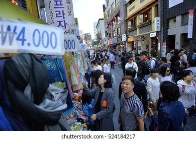 SEOUL, Korea, September 19, 2014 - Shopping area at Myeong Dong in the middle of Seoul, South Korea.