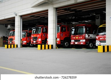 SEOUL, KOREA - September 7, 2017 : Firefighting vehicles near fire-station in seoul