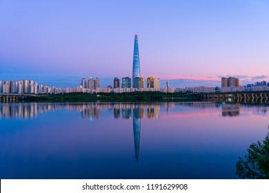 Seoul, Korea - September 9, 2018: Lotte World Tower Hangang River At Night
