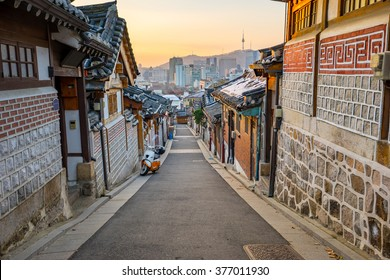 Seoul korea skyline with Bukchon Hanok historic district in Seoul, South Korea.