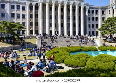 SEOUL, KOREA-APRIL 18: Students are having lunch at the campus in Kyung Hee University on April 18, 2013 in Seoul, Korea.