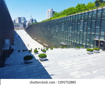 Seoul, KR - MAY 6, 2019: Exterior of the Ewha Womans University, a private women's university that founded in 1886 and currently the largest female educational institute in South Korea.