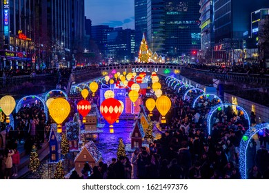 Seoul Lantern Festival, Cheonggye Plaza, Jongno-gu, Seoul, Korea - December 25, 2019: Night view of Christmas on the Cheonggyecheon Stream