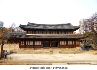 Seoul, March - 2019: Ancient Korean palace building. Deoksugung Palace, Seoul.