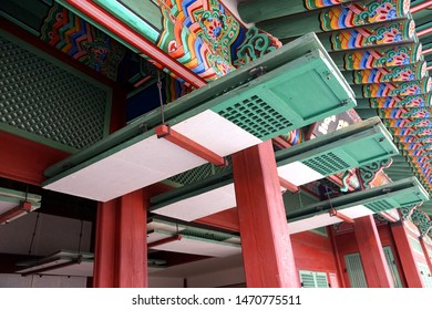 Seoul, March - 2019: The interior of an ancient Korean palace building. Deoksugung Palace, Seoul.