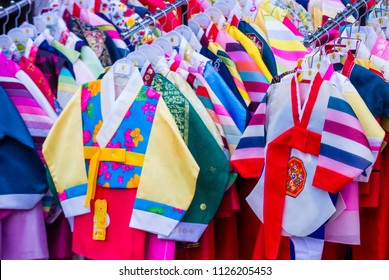 SEOUL - MAY 10 : Hanbok clothing in Seoul Korea on May 10 2018. Hanbok is a Korean traditional clothing It is characterized by vibrant colors and simple lines
