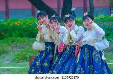 SEOUL - MAY 10 : Korean women wearing Hanbok dress in Seoul Korea on May 10 2018. Hanbok is a Korean traditional clothing It is characterized by vibrant colors and simple lines
