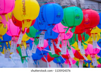 SEOUL - MAY 11 : Colorful lantern decoration at Jogyesa Temple during the Lotus Lantern Festival in Seoul Korea on May 11 2018. The festival is a celebration of the birth of Buddha