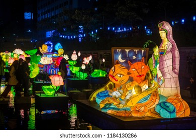SEOUL - MAY 11 : Colorful lantern decoration at cheonggyecheon stream during the Lotus Lantern Festival in Seoul Korea on May 11 2018. The festival is a celebration of the birth of Buddha