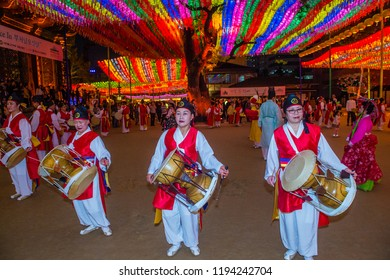 SEOUL - MAY 11 : Korean dancers Perform at Jogyesa Temple during Lotus Lantern Festival in Seoul , Korea on May 11 2018. The festival is a celebration of the birth of Buddha