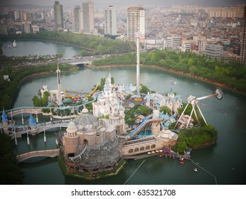 Seoul - May 5, 2017: Lotte World Amusement Park and Seokchon Lake landscape viewed from the rooftop of Children's Day.